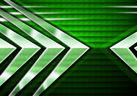 Black and green abstract background with metal arrows with reflections photo