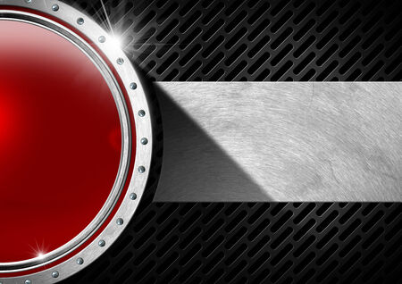 Red and metal porthole with screws on dark background with metal plate and grid photo