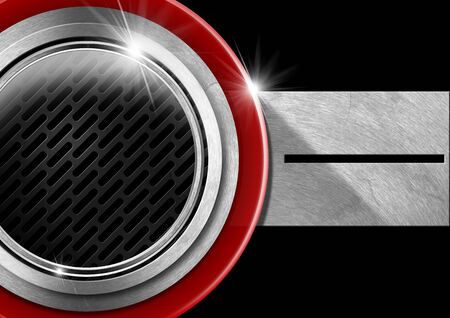 Red and metal porthole on black background with metal plate and grid photo