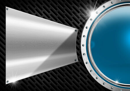 Blue and metal porthole with screws on dark background with metal plate and grid photo