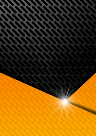 space industry: Orange, black and gray abstract background with metallic grid Stock Photo