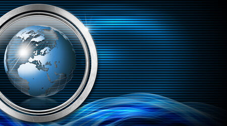 Blue and black corrugated abstract background with metal circle and blue world globe photo