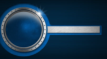 blue plaque: Blue and black corrugated abstract background with metal porthole and horizontal metal band of blue velvet