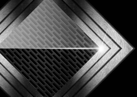 black metallic background: Abstract background with dark black metallic grid and three metal arrows
