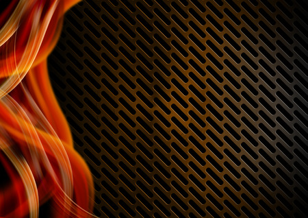 Orange, red black and gray abstract background with metallic grid and waves photo