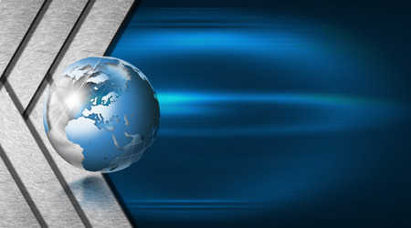 Blue and black abstract background with metal stripes and blue world globe photo
