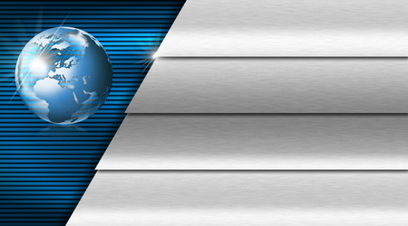 Blue and black abstract background with metal stripes and blue world globe