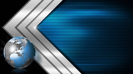 Blue and black business background with three metal arrows and blue world globe photo