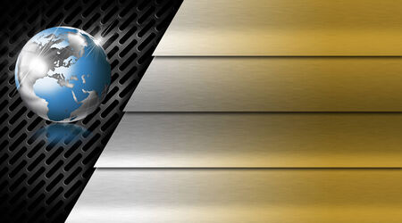 Gold and silver business background with stripes, dark grid and blue world globe photo