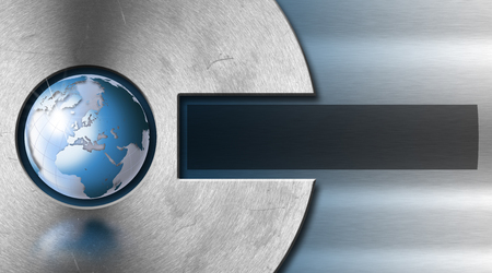Blue and metal abstract background with metal circle and blue world globe photo