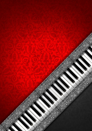 Piano keyboard on grey and red velvet background with ornate floral seamless and diagonal silver bands   photo