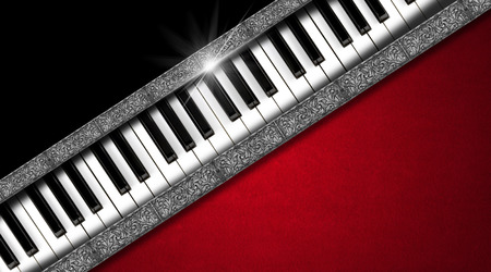 Piano keyboard on black and red velvet background and diagonal silver bands - business card music photo