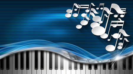 synthesizer: White musical notes and piano keyboard on blue and black corrugated background - business card music