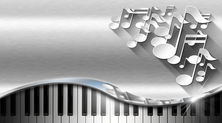 White musical notes and piano keyboard on metal background with shadows - business card music photo