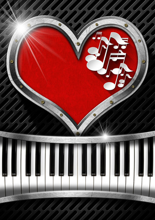 Metal porthole heart shape with red velvet and musical notes, on dark grid with piano keyboard photo