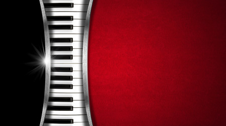 Piano keyboard on black and red velvet background and metal stripes - business card music