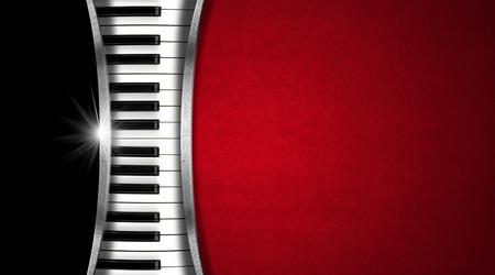 Piano keyboard op de achtergrond en metalen zwart en rood fluweel strepen - visitekaartje muziek Stockfoto