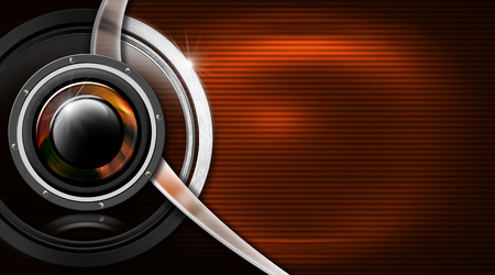 woofer: Orange and black corrugated with woofer, metal circle and curve - business card music Stock Photo