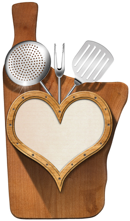 Wooden porthole heart shape with empty sheet of paper, kitchen utensils, on wooden cutting board, template for recipes or menu photo