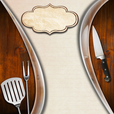 Wooden background with kitchen utensils and metal waves, template for a rustic and modern menu photo