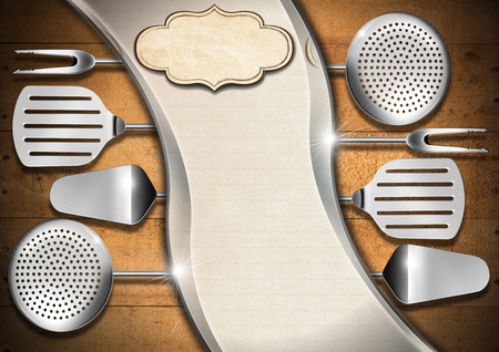 Wooden background with kitchen utensils, metal waves and empty label, template for recipes or menu Stock Photo