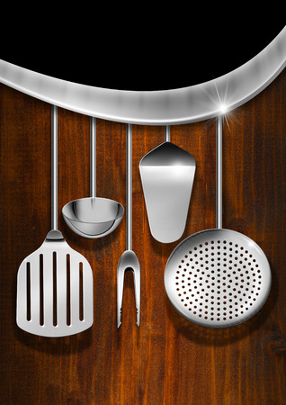 Wooden and Black background with kitchen utensils, metal wave and empty label, template for a rustic menu photo