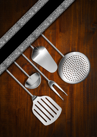 Wooden background with kitchen utensils and diagonal silver floral bands, template for a rustic menu   photo