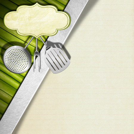 background with green vegetables kitchen utensils and empty stock