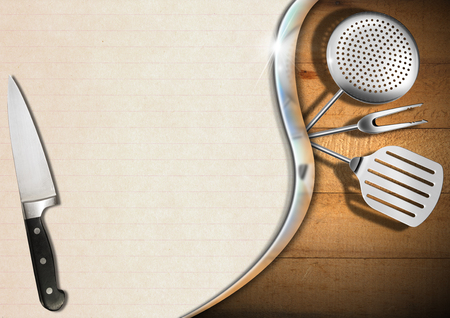 Wooden background with kitchen utensils, metal wave and empty sheet of paper, template for recipes or menu photo