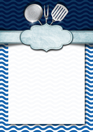 Blue and white background with stylized waves, kitchen utensils and empty label, template for recipes or a sea menu