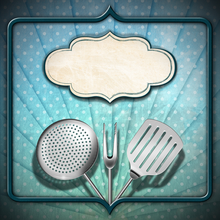 Green and blue background with stripes and circles, empty label and kitchen utensils, template for a vintage menu