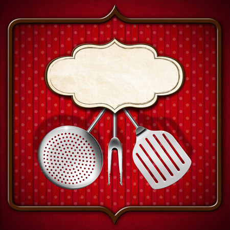 Red and brown background with stripes and circles, empty label and kitchen utensils, template for a vintage menu photo