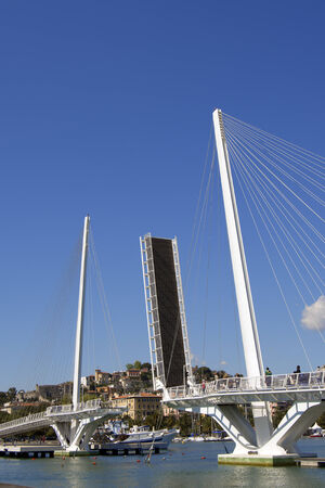 revel: View of La Spezia harbor at day, in the foreground the Bridge of Thaon di Revel in Liguria Italy
