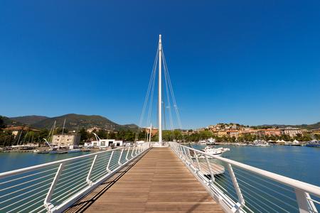 revel: View of La Spezia harbor at day, in the foreground the Bridge of Thaon di Revel in Liguria Italy