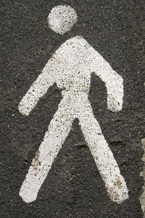 Road signs - painted sign on asphalt for pedestrian lane  Stok Fotoğraf