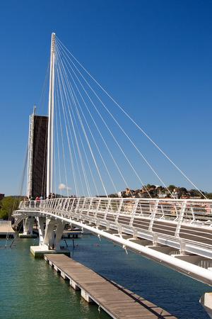 revel: View of  the Bridge of Thaon di Revel in La Spezia harbor at day - Liguria Italy