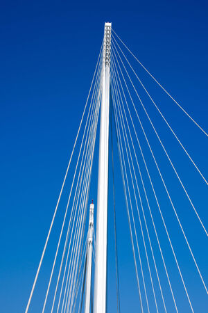 revel: Details of a cable stayed bridge  Bridge of Thaon di Revel  in La Spezia harbor - Liguria Italy Stock Photo