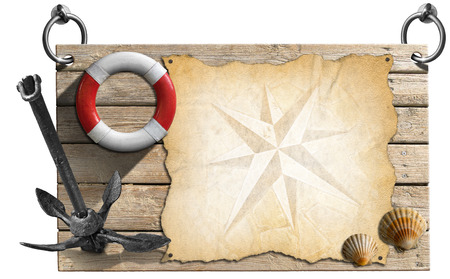 Wooden signboard with compass rose on a parchment, two seashells, old anchor and lifebuoy, concept of adventure travel photo