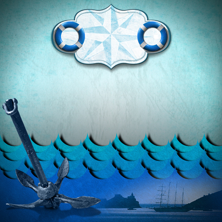 adventurous: Old blue paper with empty label with compass rose and two lifebuoys, stylized waves, sailing ship and old anchor, concept of adventurous travels Stock Photo