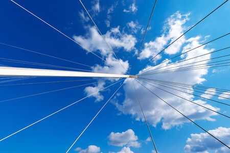 revel: Details of a cable stayed bridge  Bridge of Thaon di Revel  in La Spezia harbor - Liguria Italy Stock Photo