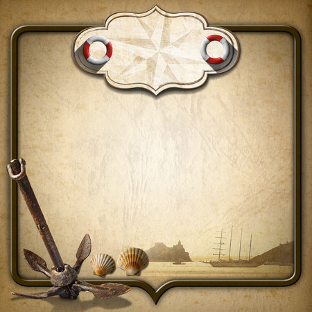 adventurous: Old brown paper with empty label with compass rose and two lifebuoys, sailing ship, old anchor and shells, concept of adventurous travels Stock Photo