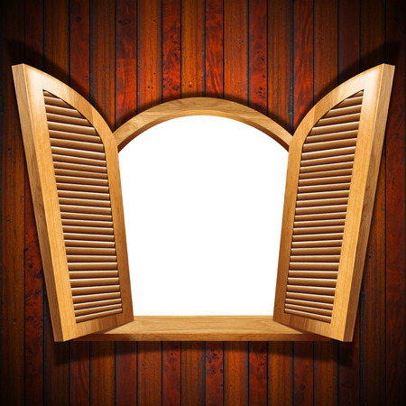 sunblind: Brown wooden window  round arch  with open shutters and wooden balcony, on wooden wall