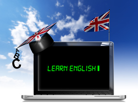 Modern laptop with black screen, graduation hat and phrase  learn english  on display and british flag on a blue sky photo