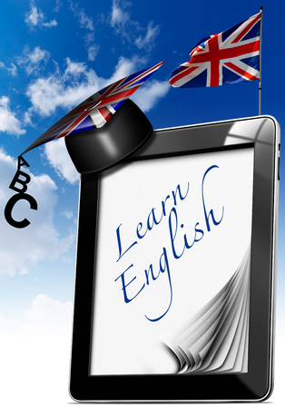 Black tablet computer with pages, graduation hat and phrase  learn english  on display and british flag on a blue sky photo