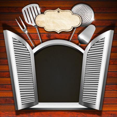 ventana abierta interior: Ventana de madera (interior negro) con persianas abiertas, utensilios de cocina y etiqueta vacía en la pared de madera