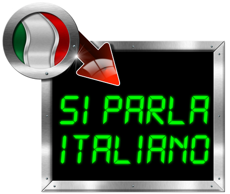Metallic billboard with rectangular and round frame, flag of Italy, red arrow and the phrase  Si Parla Italiano   Isolated on white Stock Photo