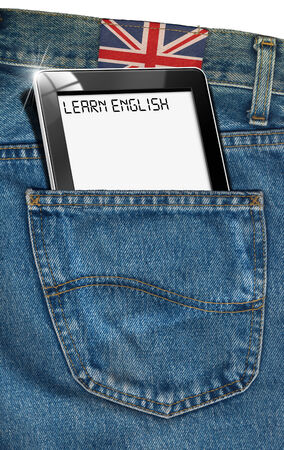 everywhere: Blue jeans fabric with black tablet computer with phrase  learn english  in a pocket and label with uk flag - concept to speak english everywhere