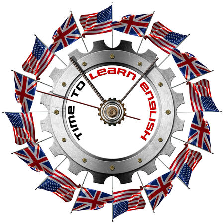 Metal clock gear-shaped with UK and US flags and phrase  Time to Learn English  photo