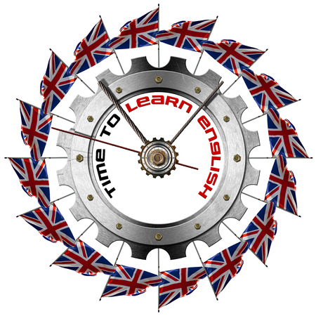 Metal clock gear-shaped with UK flags and phrase  Time to Learn English  photo