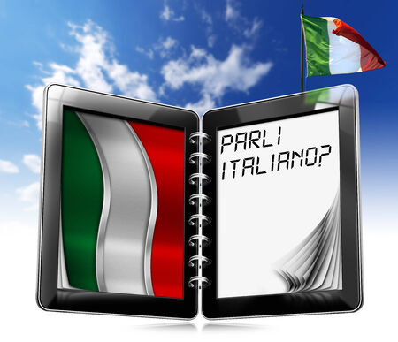 Black tablet computer with two pages and phrase  Parli Italiano   on display and Italian flag on a blue sky photo